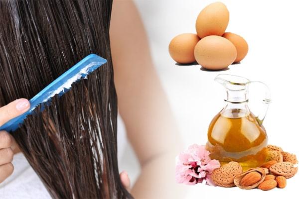 صاف کردن مو با تخم مرغ و روغن بادام